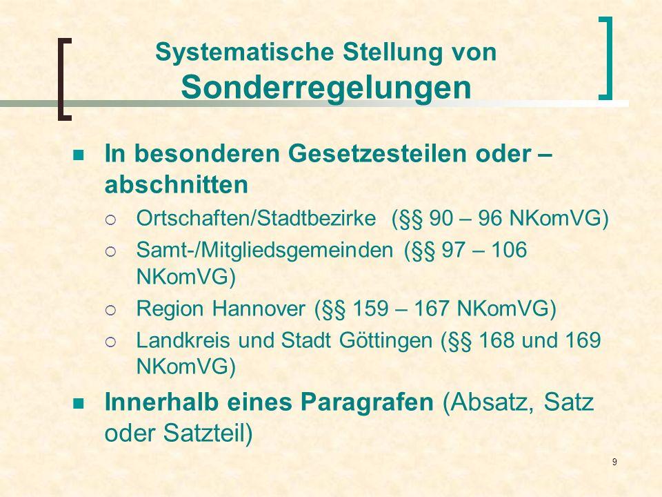 Systematische Stellung von Sonderregelungen