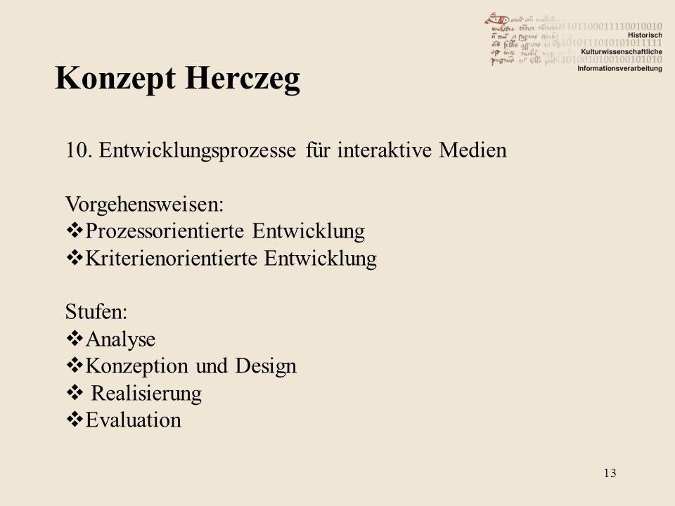 Konzept Herczeg 10. Entwicklungsprozesse für interaktive Medien