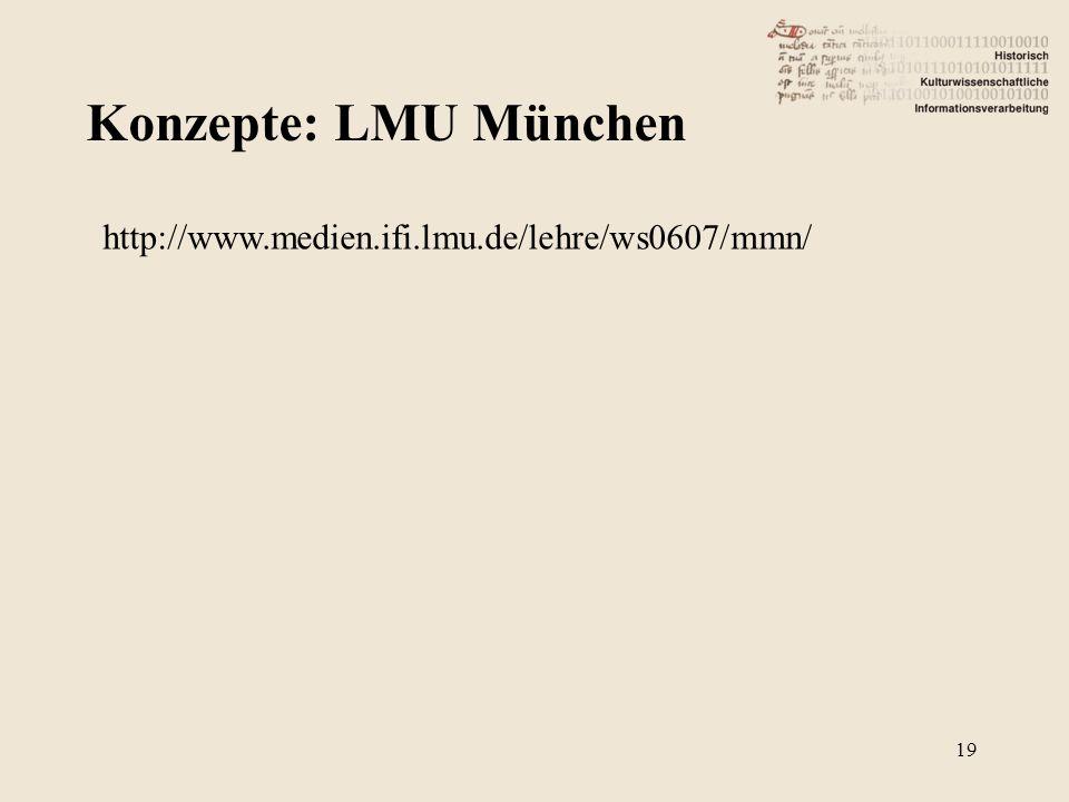 Konzepte: LMU München http://www.medien.ifi.lmu.de/lehre/ws0607/mmn/