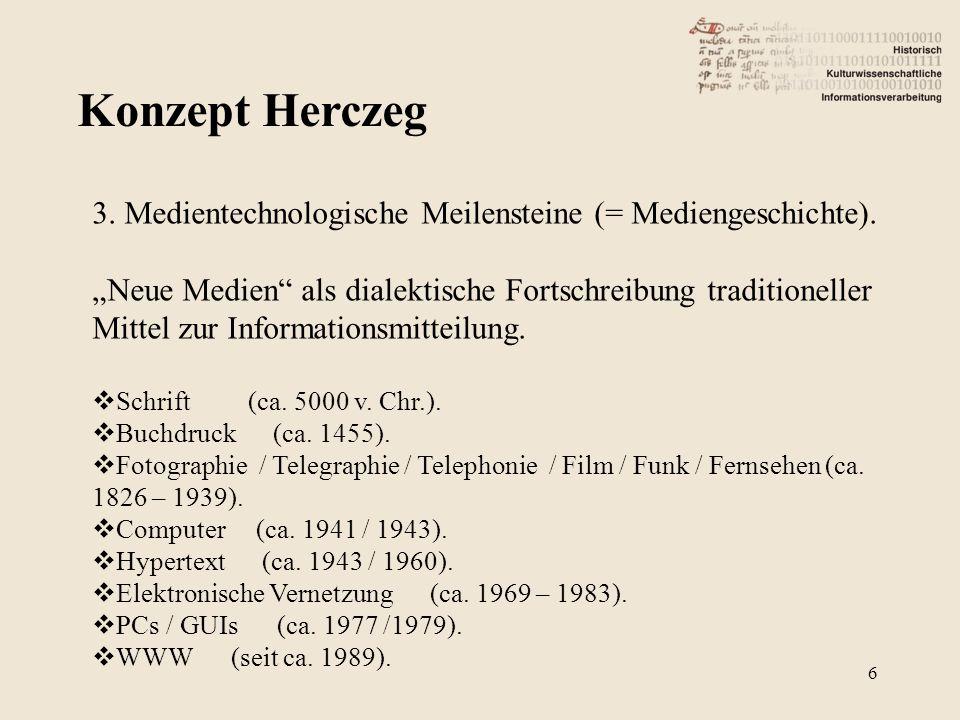 Konzept Herczeg 3. Medientechnologische Meilensteine (= Mediengeschichte).