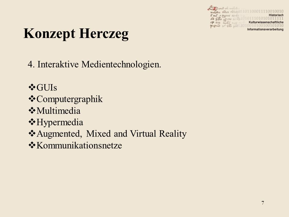 Konzept Herczeg 4. Interaktive Medientechnologien. GUIs