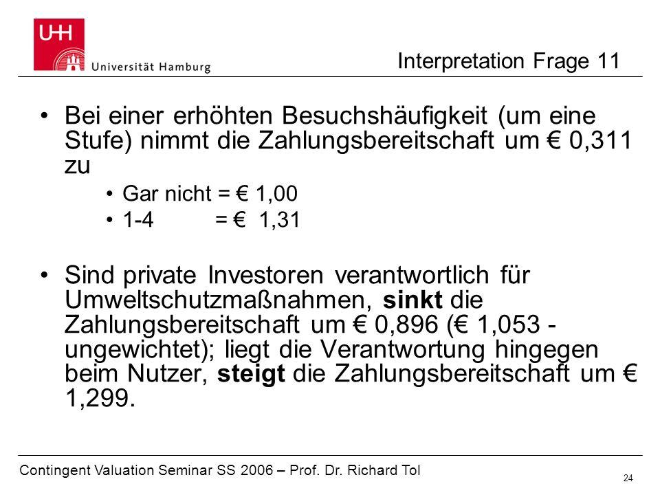 Interpretation Frage 11 Bei einer erhöhten Besuchshäufigkeit (um eine Stufe) nimmt die Zahlungsbereitschaft um € 0,311 zu.
