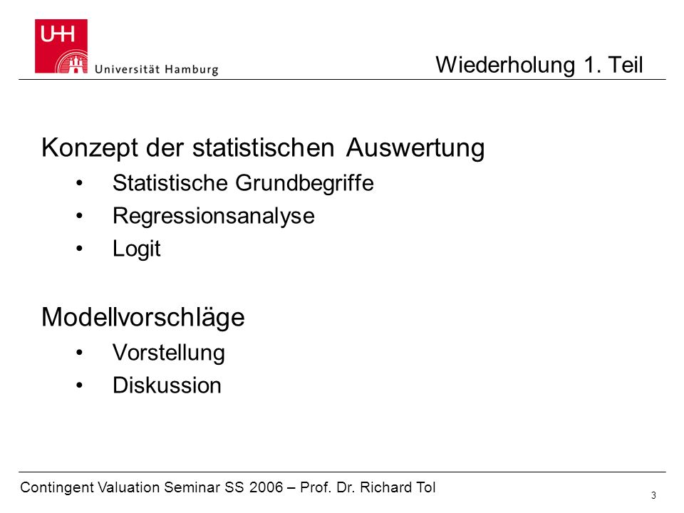 Konzept der statistischen Auswertung