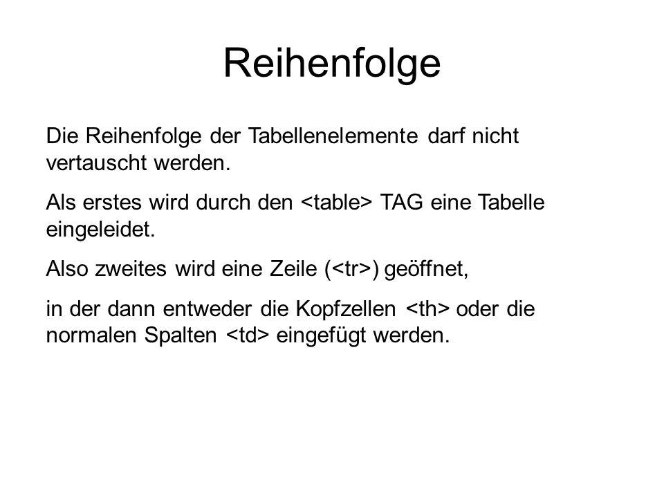 Reihenfolge Die Reihenfolge der Tabellenelemente darf nicht vertauscht werden. Als erstes wird durch den <table> TAG eine Tabelle eingeleidet.