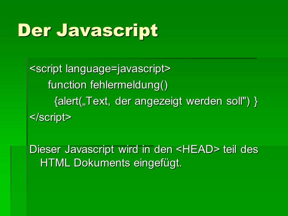 Der Javascript <script language=javascript>