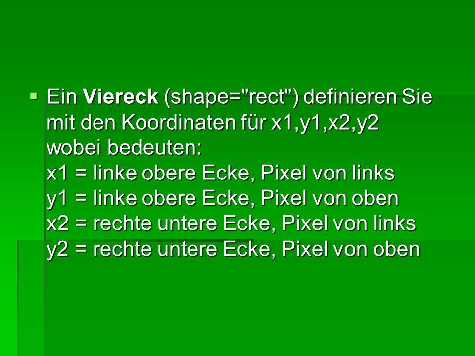 Ein Viereck (shape= rect ) definieren Sie mit den Koordinaten für x1,y1,x2,y2 wobei bedeuten: x1 = linke obere Ecke, Pixel von links y1 = linke obere Ecke, Pixel von oben x2 = rechte untere Ecke, Pixel von links y2 = rechte untere Ecke, Pixel von oben