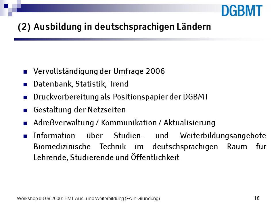 (2) Ausbildung in deutschsprachigen Ländern