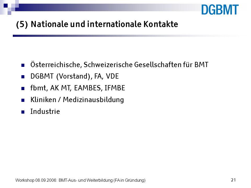 (5) Nationale und internationale Kontakte