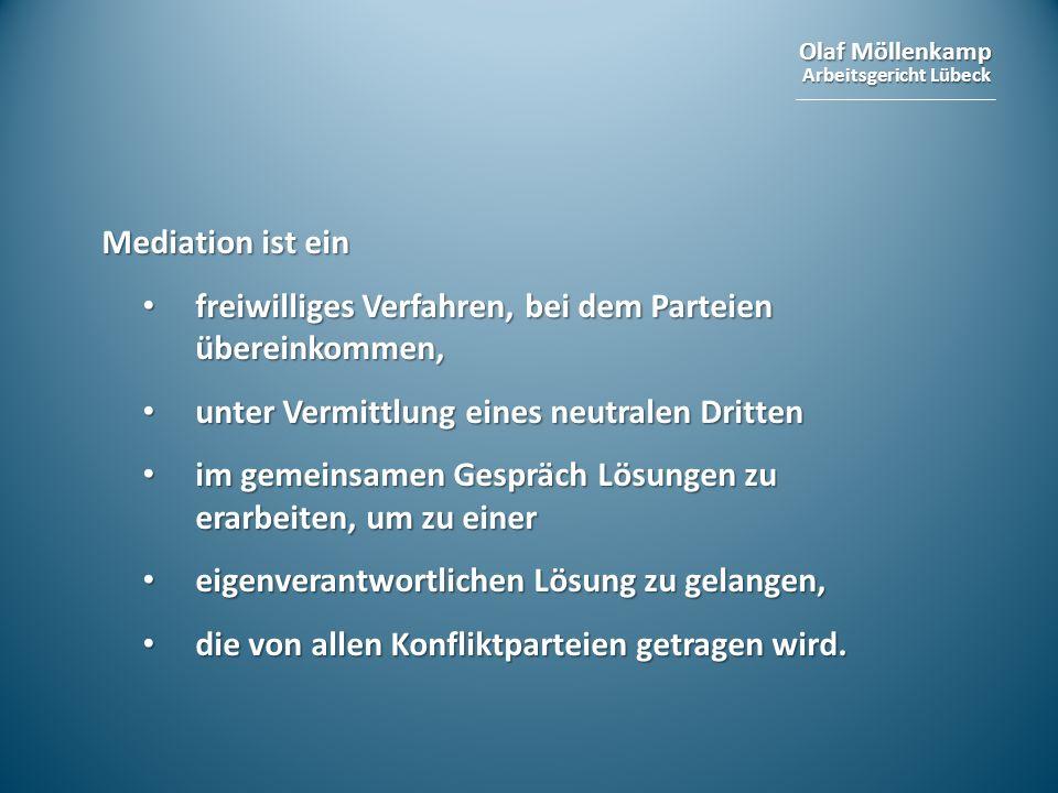 Mediation ist ein freiwilliges Verfahren, bei dem Parteien übereinkommen, unter Vermittlung eines neutralen Dritten.
