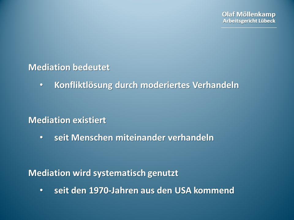 Mediation bedeutet Konfliktlösung durch moderiertes Verhandeln. Mediation existiert. seit Menschen miteinander verhandeln.