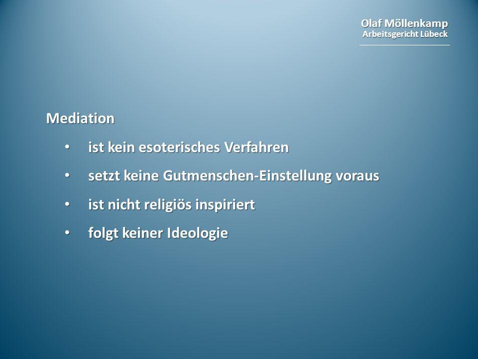 Mediation ist kein esoterisches Verfahren. setzt keine Gutmenschen-Einstellung voraus. ist nicht religiös inspiriert.