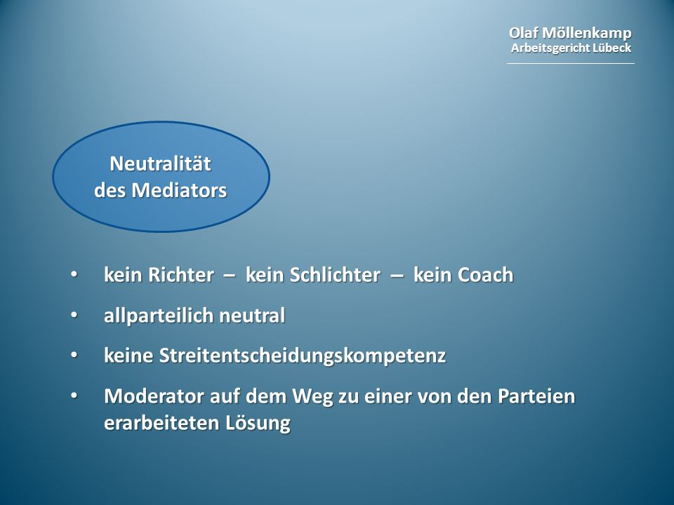 Neutralität des Mediators