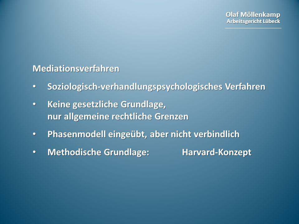 Mediationsverfahren Soziologisch-verhandlungspsychologisches Verfahren. Keine gesetzliche Grundlage, nur allgemeine rechtliche Grenzen.