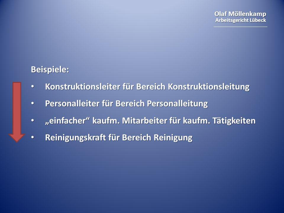 Beispiele: Konstruktionsleiter für Bereich Konstruktionsleitung. Personalleiter für Bereich Personalleitung.