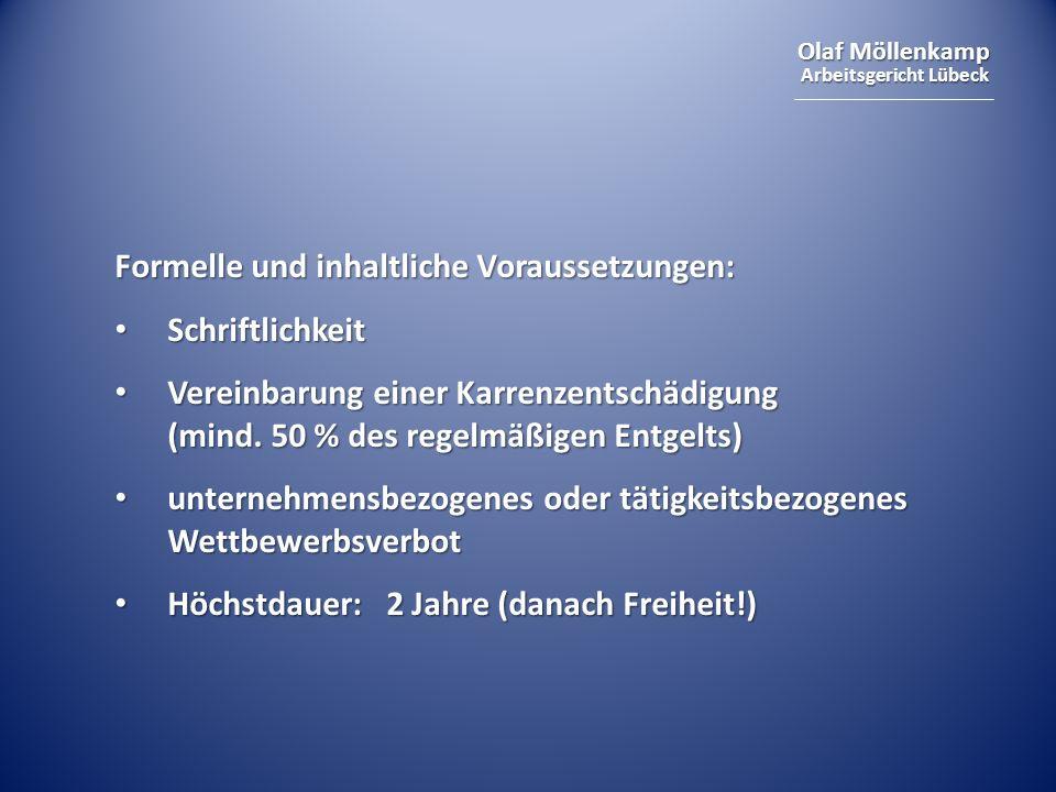 Formelle und inhaltliche Voraussetzungen: