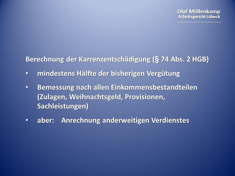 Berechnung der Karrenzentschädigung (§ 74 Abs. 2 HGB)
