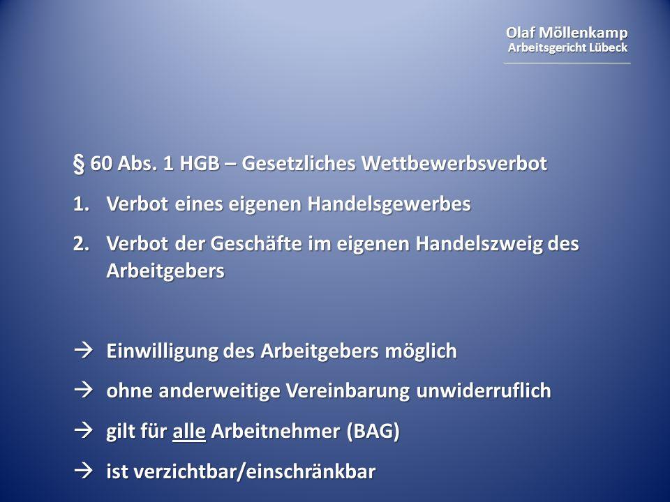 § 60 Abs. 1 HGB – Gesetzliches Wettbewerbsverbot