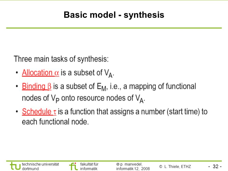 Basic model - synthesis