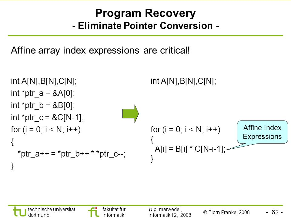 Program Recovery - Eliminate Pointer Conversion -