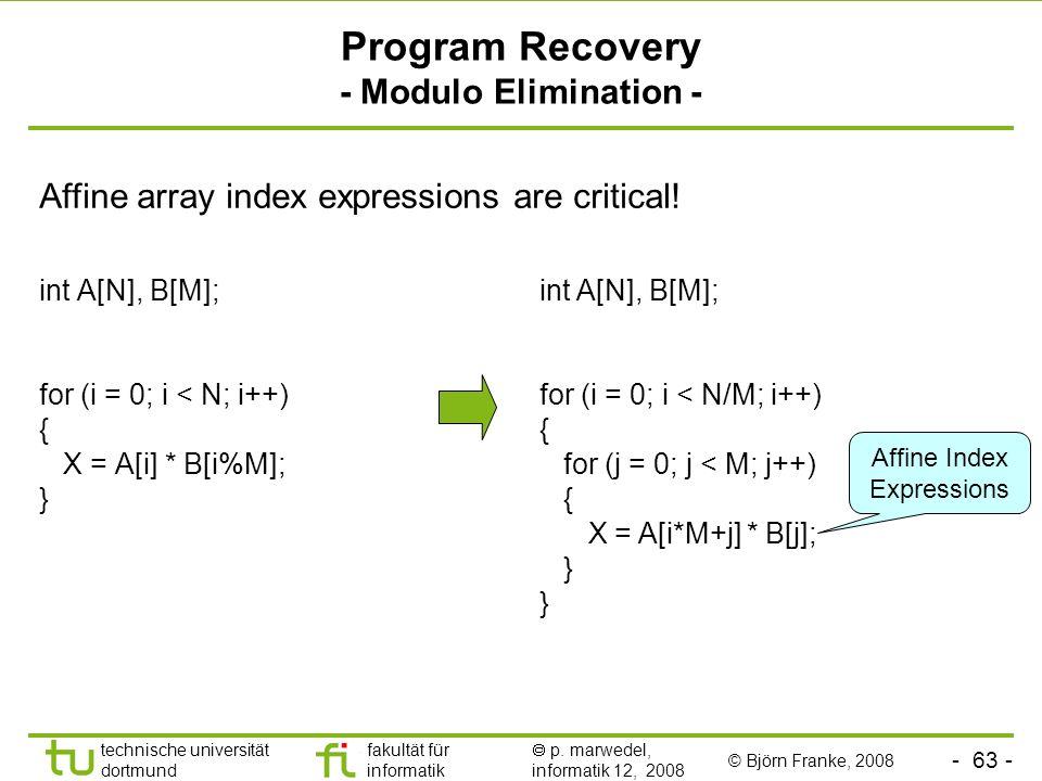Program Recovery - Modulo Elimination -