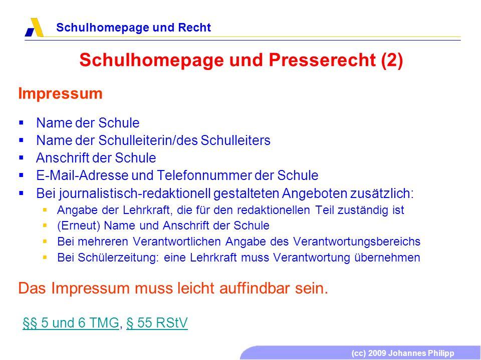 Schulhomepage und Presserecht (2)