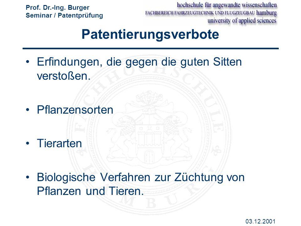Patentierungsverbote