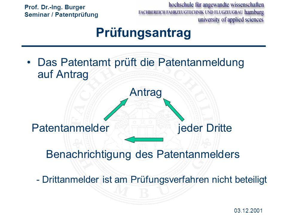 Prüfungsantrag Das Patentamt prüft die Patentanmeldung auf Antrag