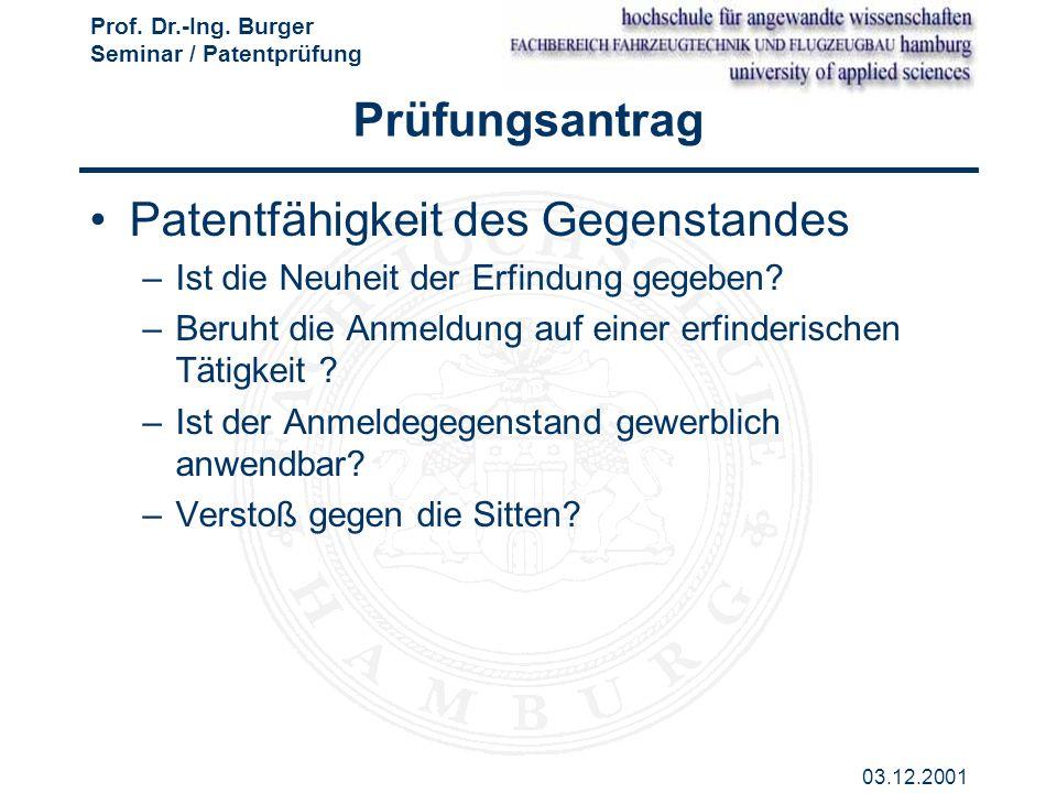 Patentfähigkeit des Gegenstandes