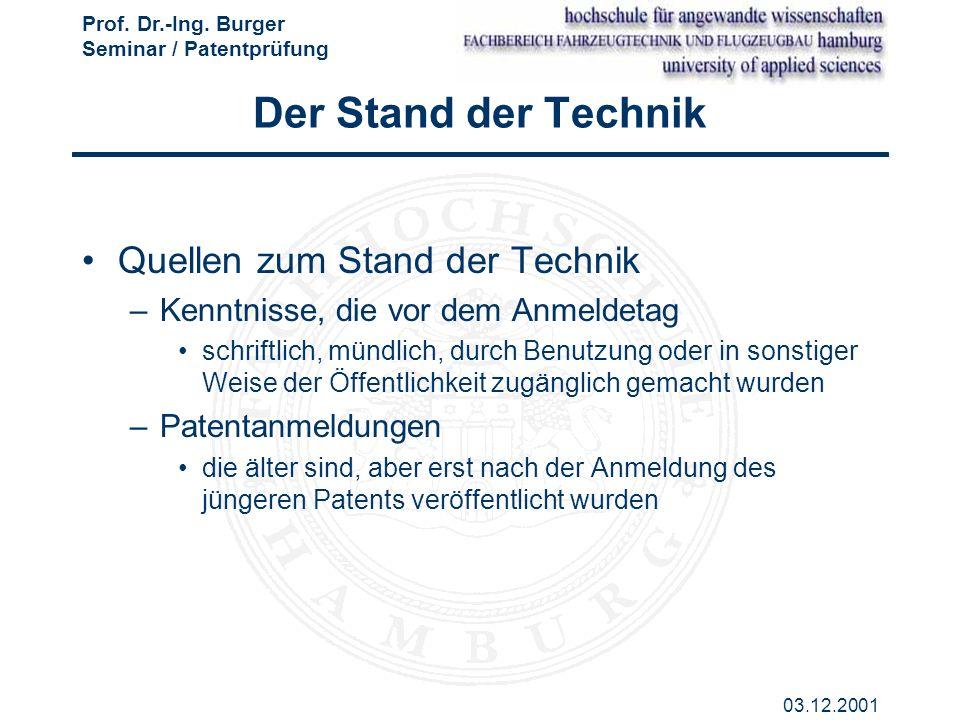 Der Stand der Technik Quellen zum Stand der Technik