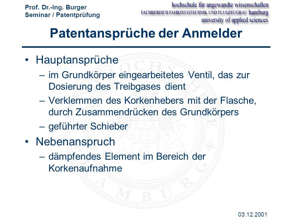 Patentansprüche der Anmelder