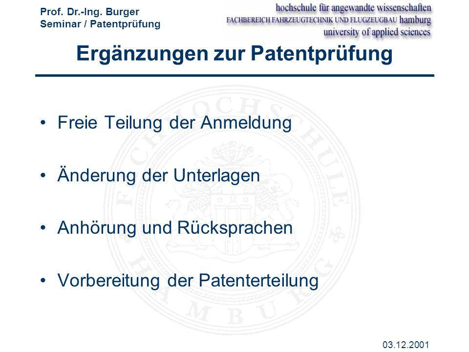 Ergänzungen zur Patentprüfung