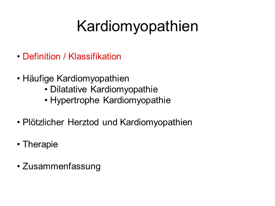 Kardiomyopathien • Definition / Klassifikation