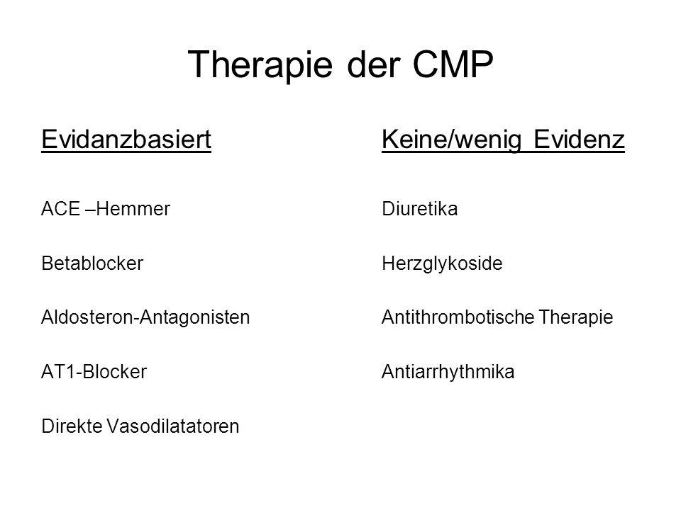 Therapie der CMP Evidanzbasiert Keine/wenig Evidenz