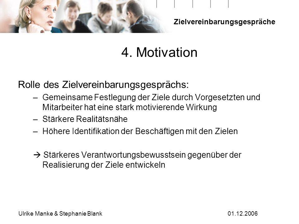 4. Motivation Rolle des Zielvereinbarungsgesprächs: