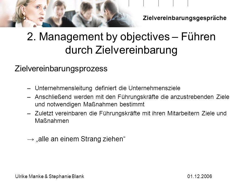 2. Management by objectives – Führen durch Zielvereinbarung