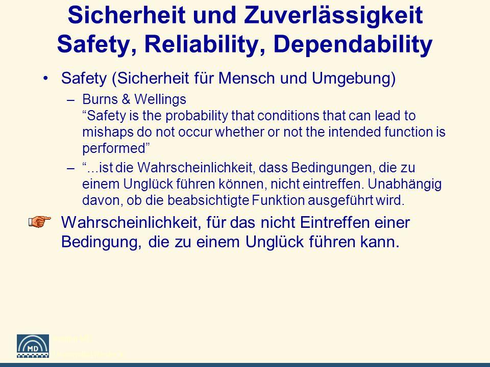 Sicherheit und Zuverlässigkeit Safety, Reliability, Dependability