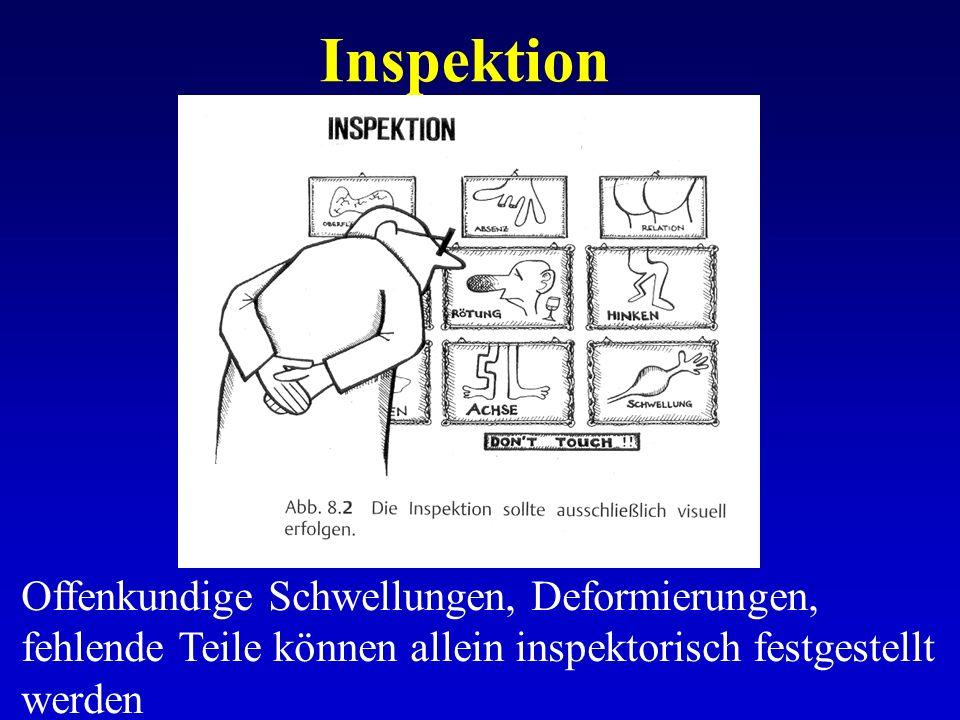 Inspektion Offenkundige Schwellungen, Deformierungen, fehlende Teile können allein inspektorisch festgestellt werden.
