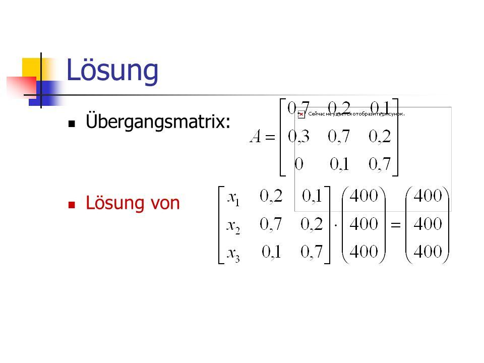 Lösung Übergangsmatrix: Lösung von