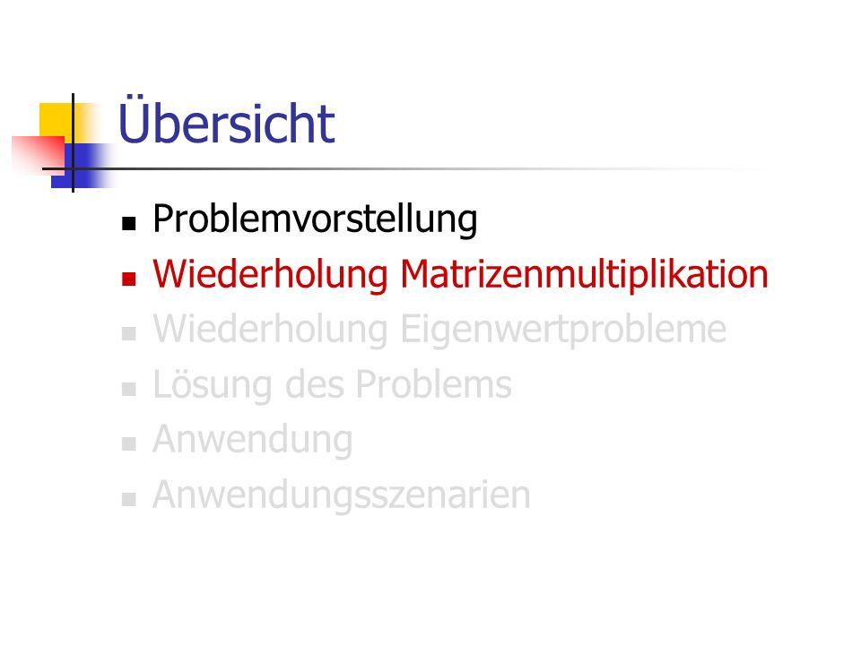 Übersicht Problemvorstellung Wiederholung Matrizenmultiplikation