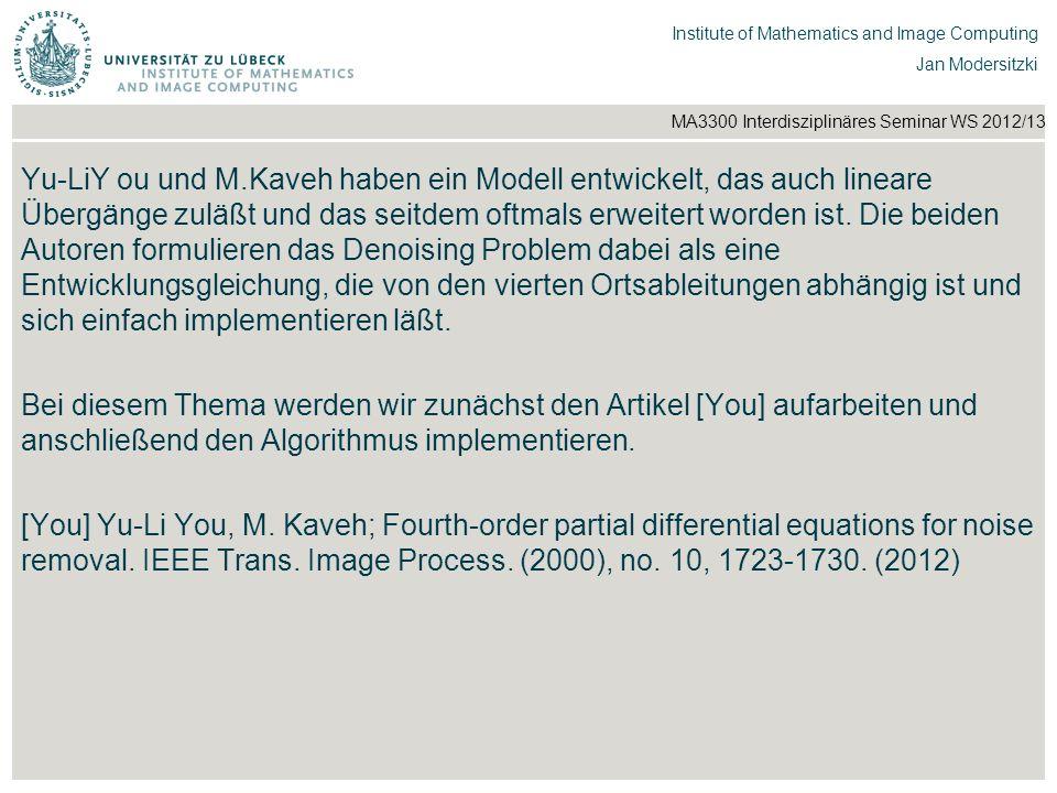 Yu-LiY ou und M.Kaveh haben ein Modell entwickelt, das auch lineare Übergänge zuläßt und das seitdem oftmals erweitert worden ist. Die beiden Autoren formulieren das Denoising Problem dabei als eine Entwicklungsgleichung, die von den vierten Ortsableitungen abhängig ist und sich einfach implementieren läßt.