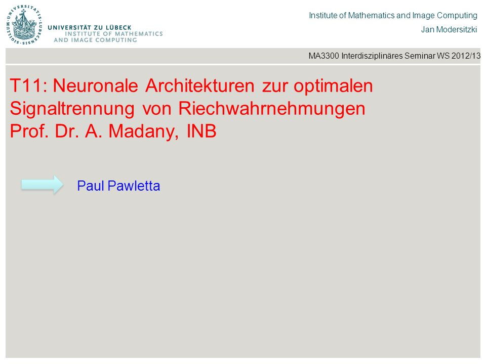 T11: Neuronale Architekturen zur optimalen Signaltrennung von Riechwahrnehmungen Prof. Dr. A. Madany, INB