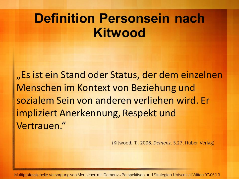 Definition Personsein nach Kitwood