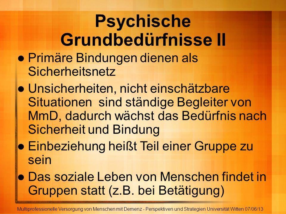 Psychische Grundbedürfnisse II