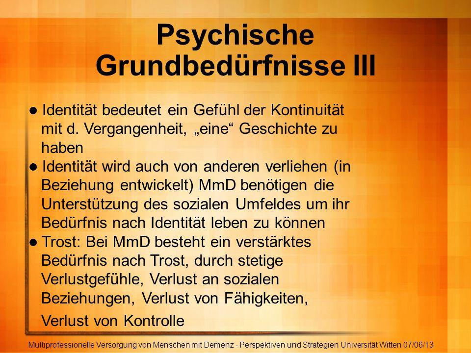 Psychische Grundbedürfnisse III