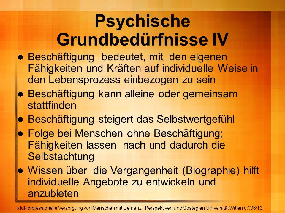 Psychische Grundbedürfnisse IV