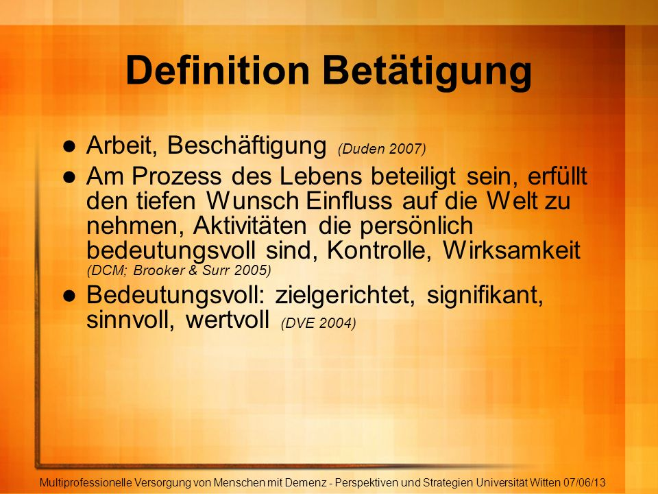 Definition Betätigung