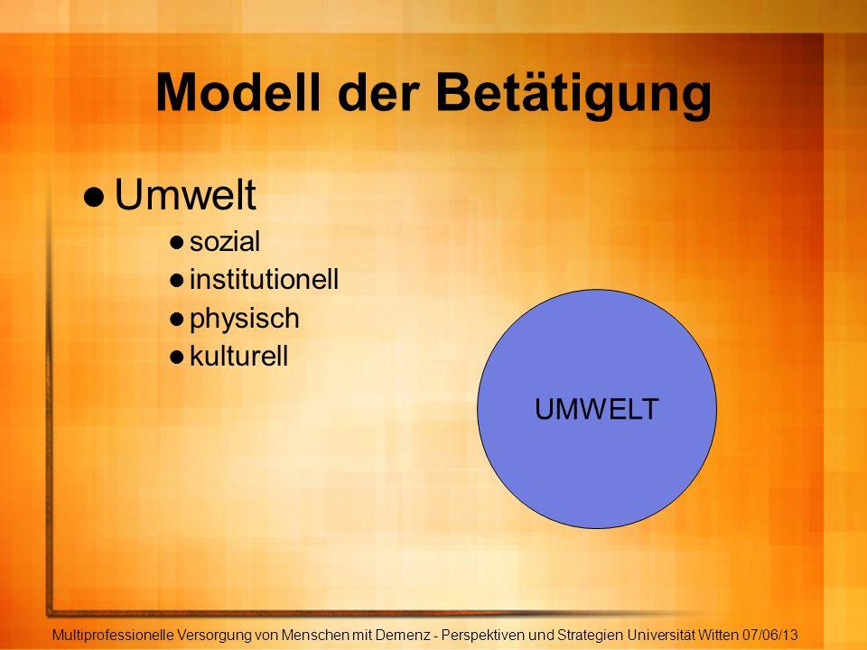 Modell der Betätigung Umwelt sozial institutionell physisch kulturell