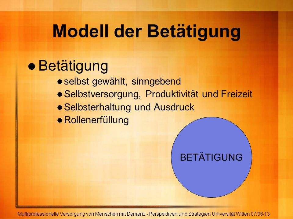Modell der Betätigung Betätigung selbst gewählt, sinngebend