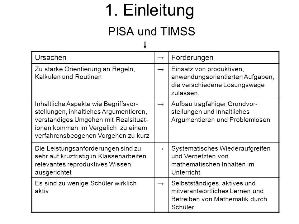1. Einleitung PISA und TIMSS Ursachen Forderungen →