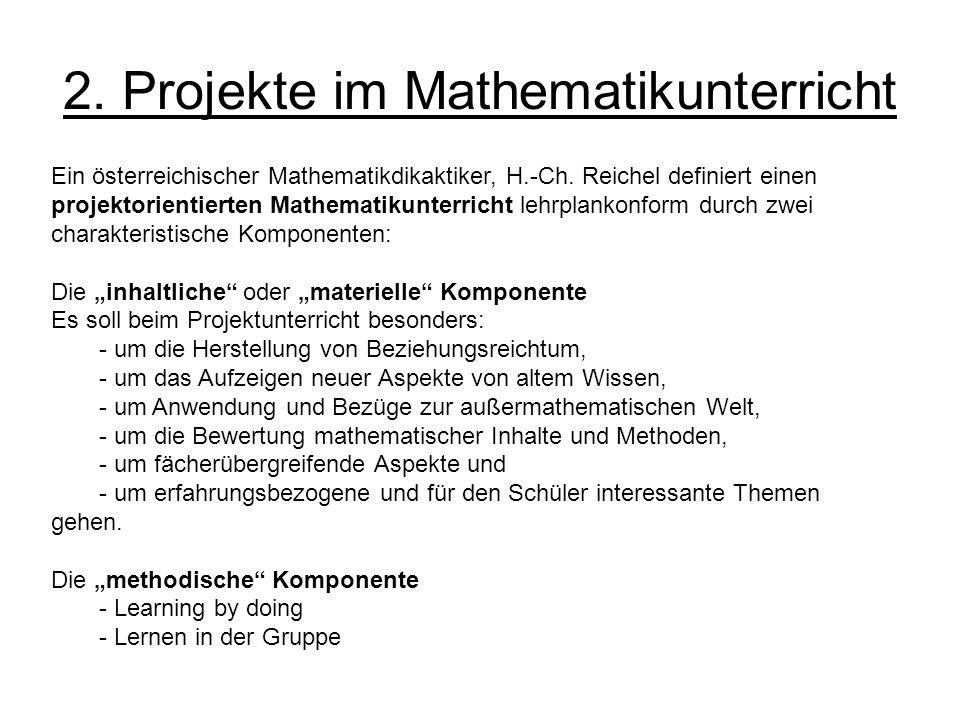 2. Projekte im Mathematikunterricht